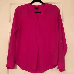 Bright pink long sleeve blouse size small